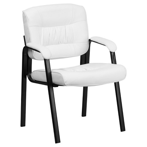 White Leather Executive Side Chair with Black Frame Finish - Flash Furniture - image 1 of 4