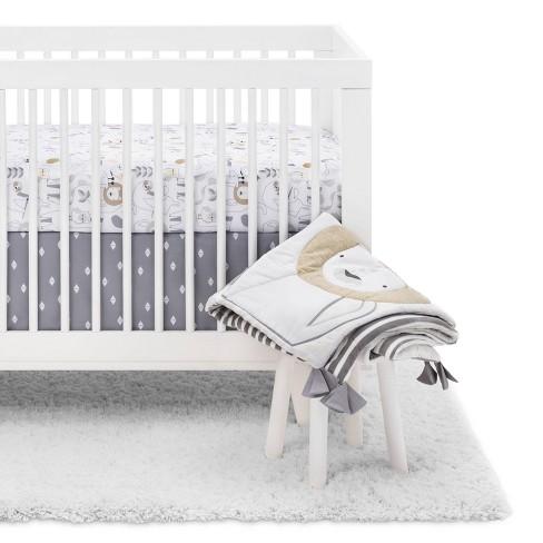 Crib Bedding Set Animals 4pc - Cloud Island™ White/Beige - image 1 of 4
