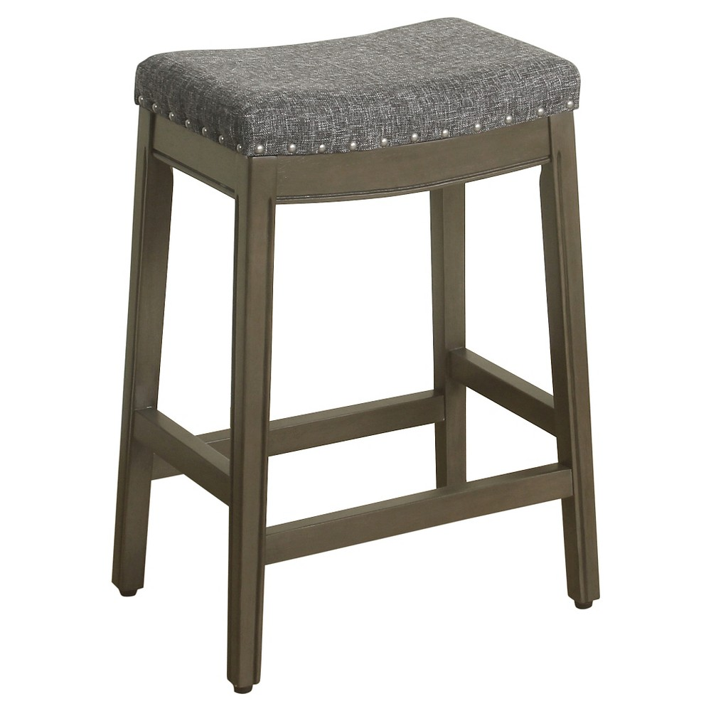 "Image of ""24"""" Blake Backless Counter Stool with Nailheads Charcoal - HomePop"""