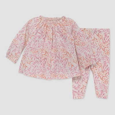 Burt's Bees Baby® Baby Girls' Leaf Impression Tunic & Leggings Set - Rose Pink 3-6M