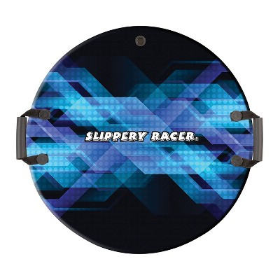 Slippery Racer Downhill Zeus Adults and Kids Foam Saucer Disc 1 Rider Snow Sled with Handles, Midnight Hologram