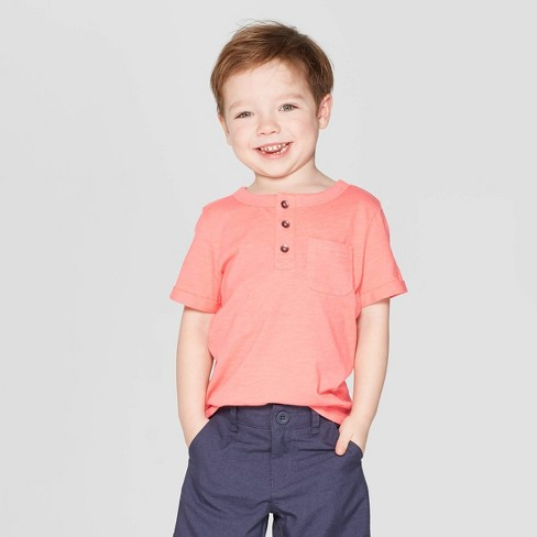 bc2e4fa5a Toddler Boys' Short Sleeve Pocket Henley Shirt - Cat & Jack™ Peach : Target