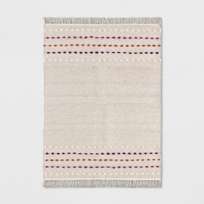 Tan Striped With Poms Woven Fringed Rug - Opalhouse™