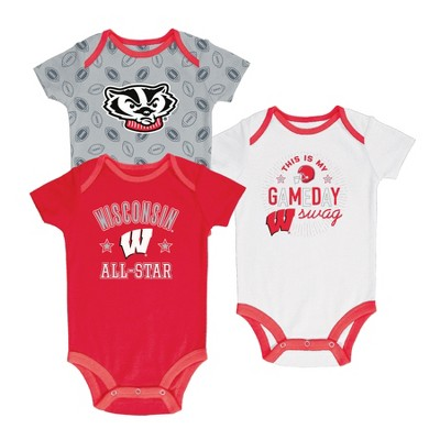 Wisconsin Badgers Baby Boy Short Sleeve 3pk Bodysuit - 0-3M
