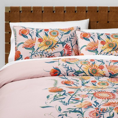 Full/Queen Placed Floral Duvet & Pillow Sham Set Blush - Opalhouse™