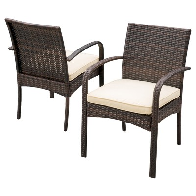 Cordoba 2pk Wicker Patio Dining Chair with Cushion -  Christopher Knight Home