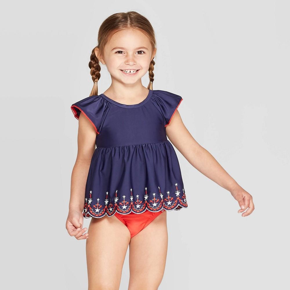 440e95f954e Toddler Girls Short Sleeve Eyelet Rash Guard Set Cat Jack Navy 4T Blue