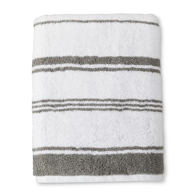 Woven Bath Towel Classic White and Gray - Threshold™