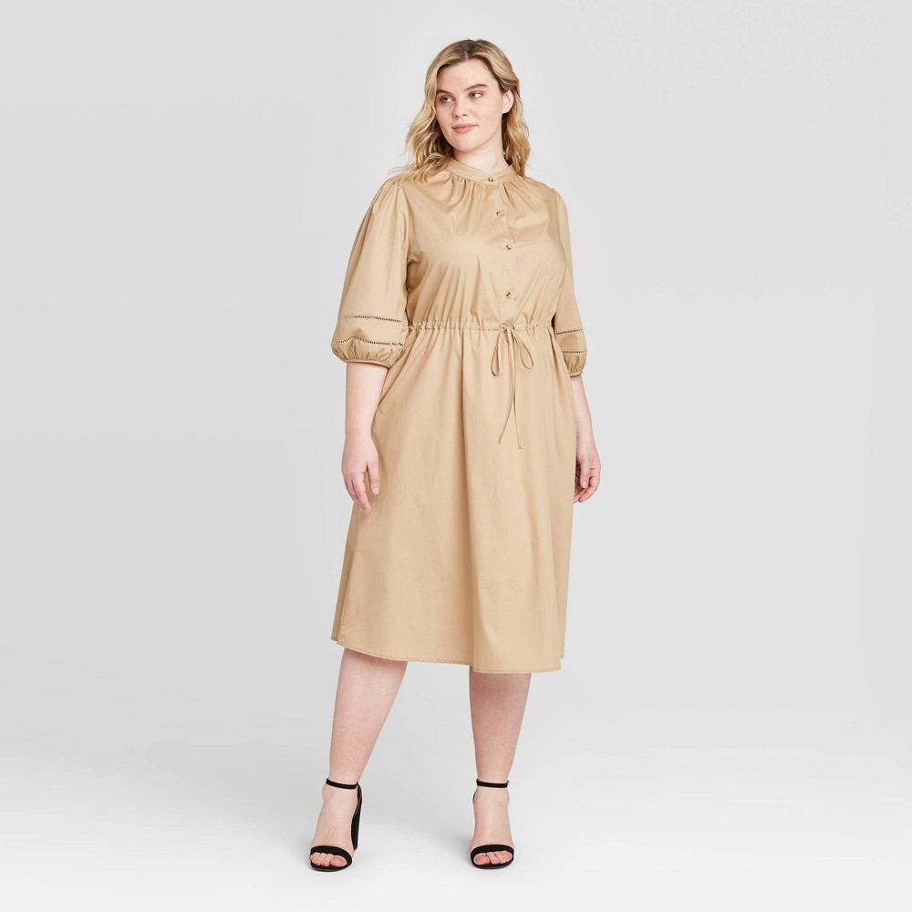 Women's Plus Size Elbow Sleeve Midi Dress - Who What Wear Khaki 4X, Green was $36.99 now $25.89 (30.0% off)