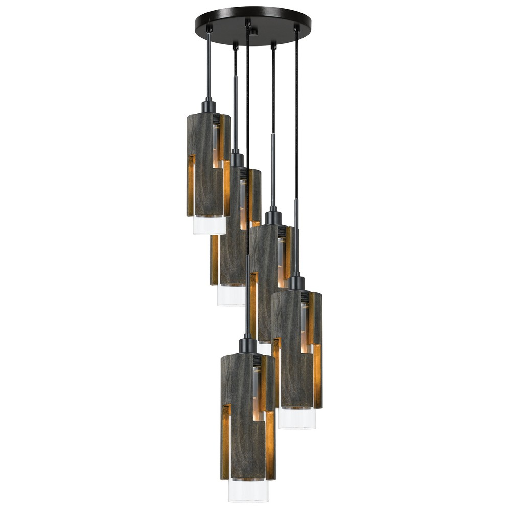 60W X 5 Reggio Wood Pendant Glass Fixture Ceiling Light (Edison Bulbs Not Included) - Cal Lighting, Multi-Colored
