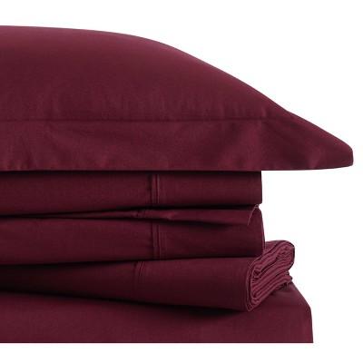 Queen Classic Cotton Solid Sheet Set Burgundy - Brooklyn Loom