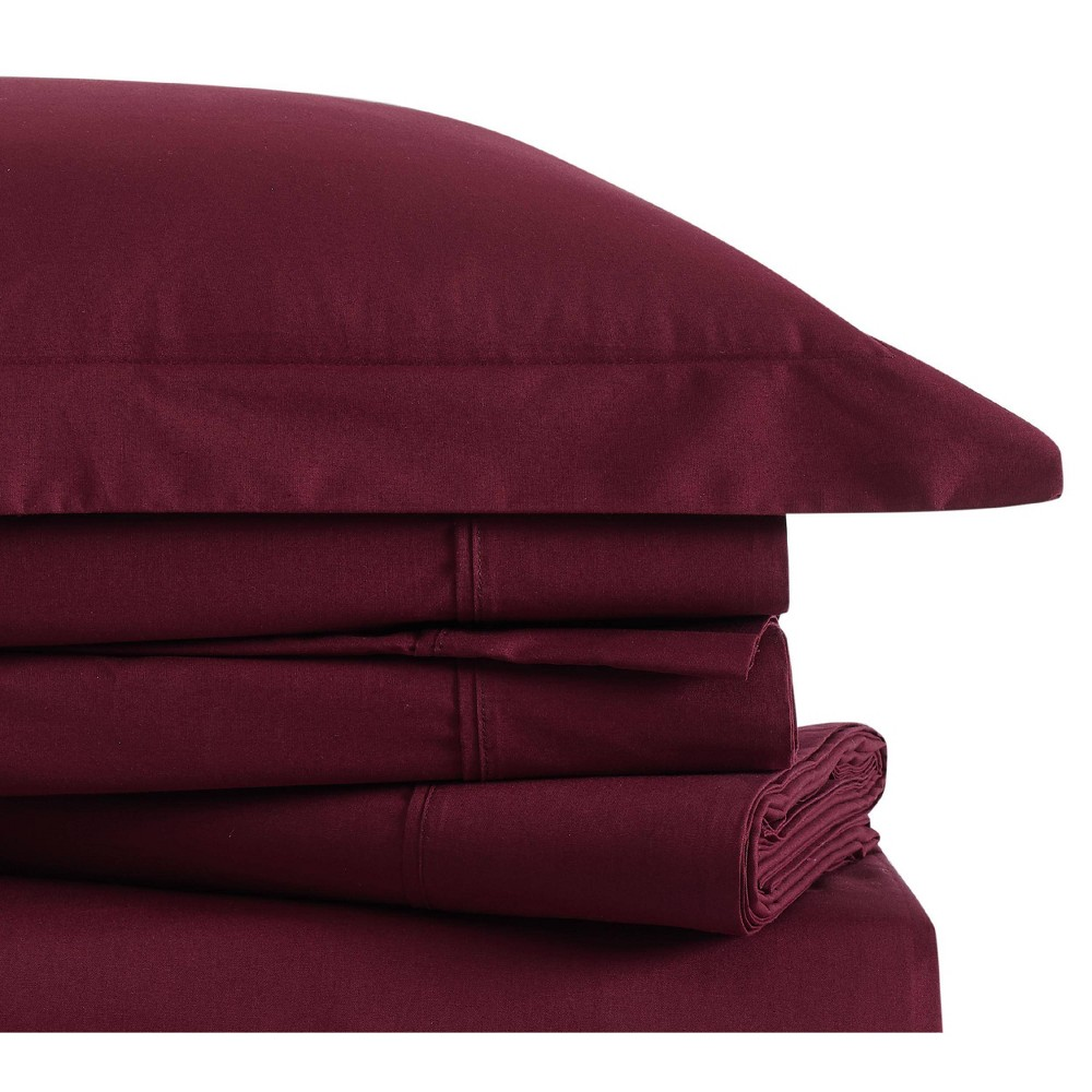 Image of Queen Classic Cotton Solid Sheet Set Burgundy - Brooklyn Loom