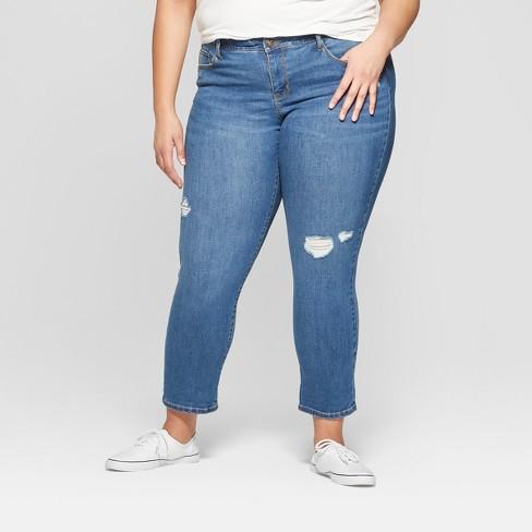 644d943668f Women s Plus Size Destructed Boyfriend Jeans - Ava   Viv™ Light Wash ...
