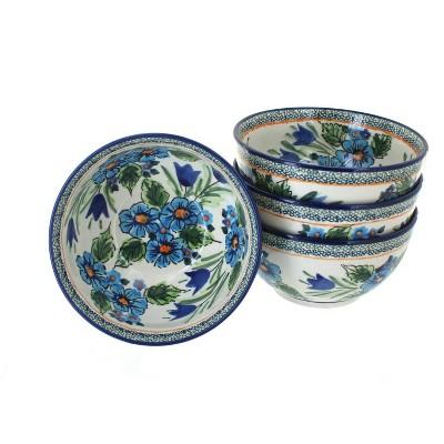 Blue Rose Polish Pottery Ballina Dessert Bowl Set
