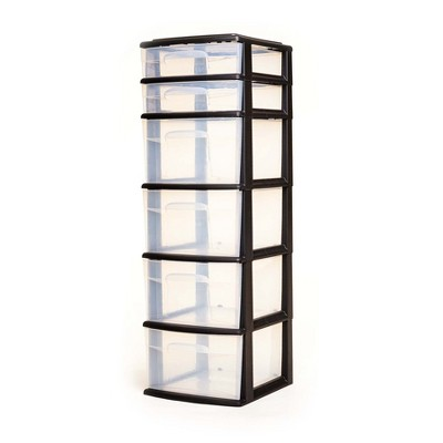 Homz Plastic 6 Clear Drawer Medium Home Storage Container Tower with 4 Large Drawers and 2 Small Drawers, Black Frame