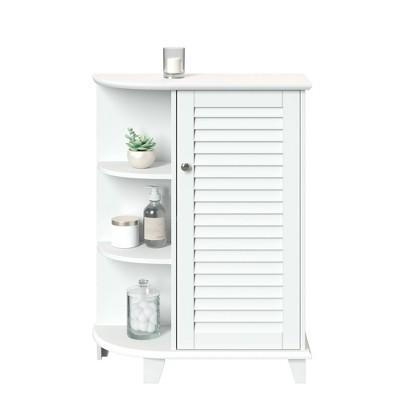 Ellsworth Floor Cabinet with Side Shelves White - RiverRidge Home
