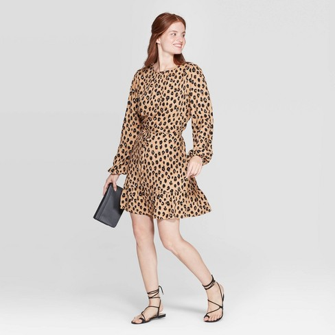 Women's Leopard Print Long Sleeve Round Neck Mini Crepe Dress - A New Day™ Brown - image 1 of 3
