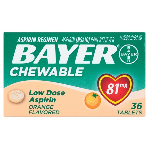 Bayer Low Dose Pain Reliever Chewable Tablets - Aspirin (NSAID) - Orange Flavor - image 1 of 1