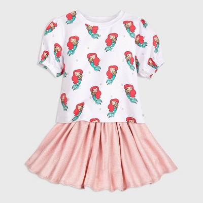 Girls' Disney The Little Mermaid Ariel Top & Bottom Set - White/Pink - Disney Store