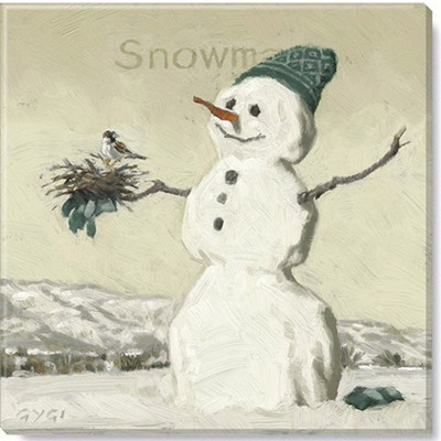Sullivans Darren Gygi Sepia Snowman with Bird Canvas, Museum Quality Giclee Print, Gallery Wrapped, Handcrafted in USA