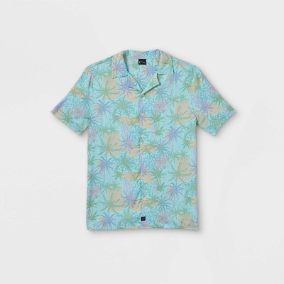 Boys' Palm Leaf Graphic Short Sleeve Button-Down Shirt - art class™ Blue