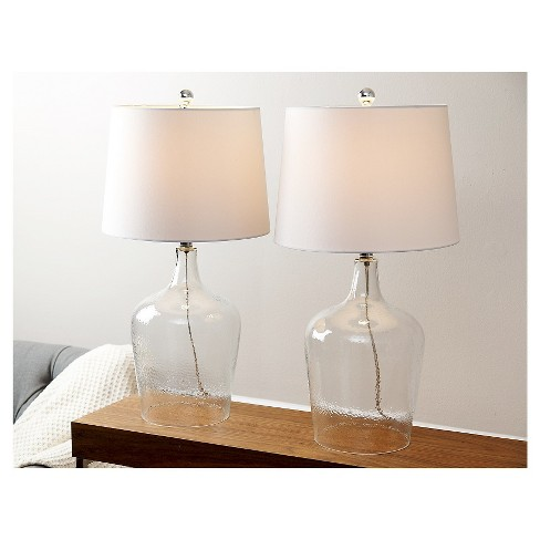 Abbyson Living Delmore Glass Table Lamp Set Of 2 Clear Target