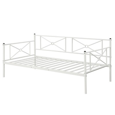 Costway Twin Size Metal Daybed Frame Multifunctional Platform Bed W/Steel Slats White