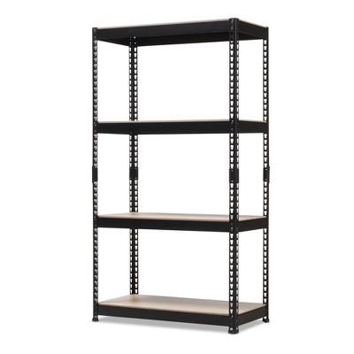 Cody Metal 4 - Shelf Multipurpose Shelving Rack - Black - Baxton Studio