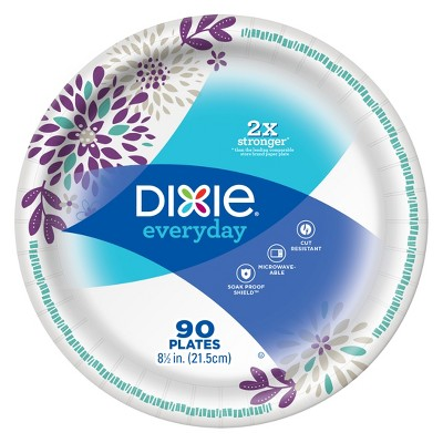 "Dixie Everyday Dinner Paper Plates 8.5"" - 90ct"
