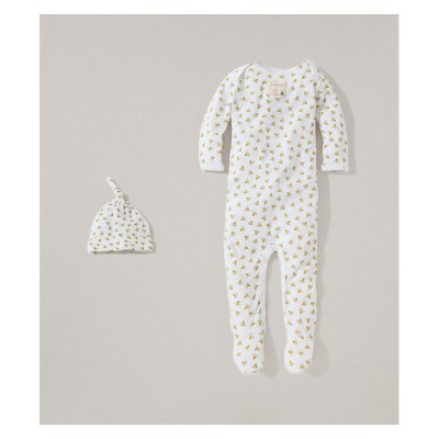 Burt's Bees Baby Organic Cotton Coverall and Hat Set - Cloud 0-3M
