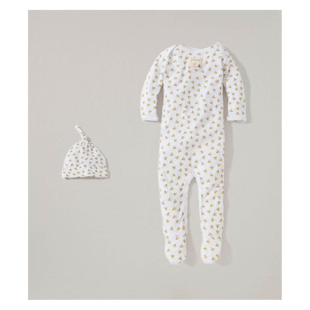 Burt's Bees Baby Organic Cotton Coverall and Hat Set - Cloud 6-9M, Infant Unisex, White