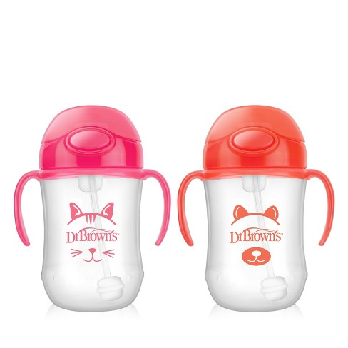 Dr. Brown's Baby's First Weighted Straw Cup 9oz 2pk - Pink/Orange - image 1 of 4