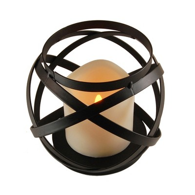 Banded Metal Lantern With Battery Operated LED Candle- Black- LumaBase