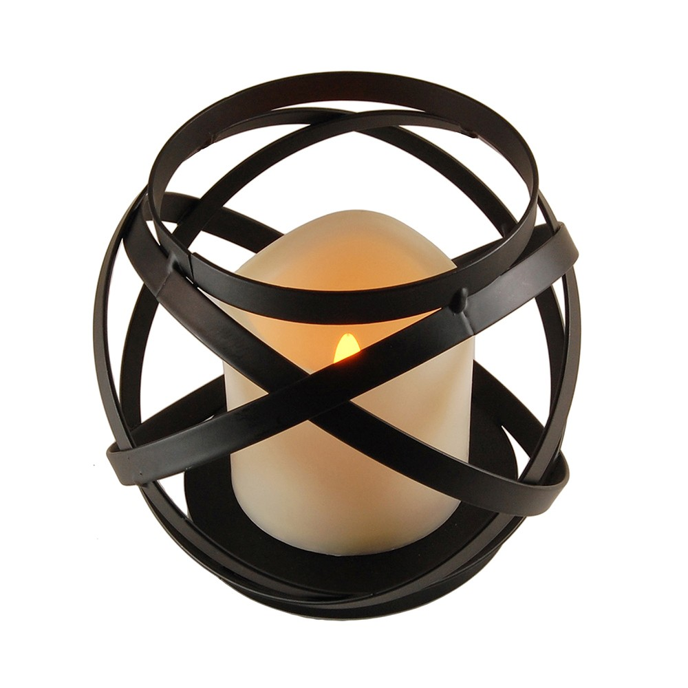 Image of Banded Metal Lantern With Battery Operated LED Candle- Black- LumaBase