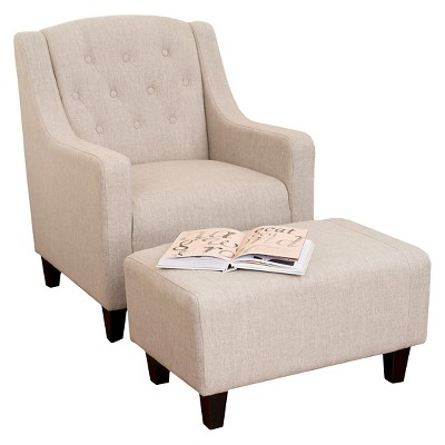 Elaine Tufted Fabric Chair and Ottoman - Light Beige - Christopher Knight Home