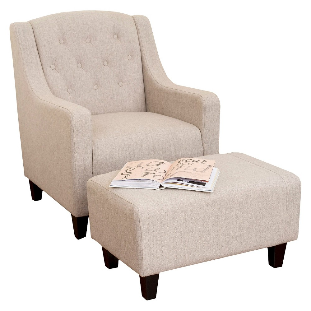 Elaine Tufted Fabric Chair and Ottoman - Light Beige - Christopher Knight Home, Beige Tint