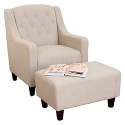 Elaine Tufted Fabric Chair and Ottoman - Christopher Knight Home