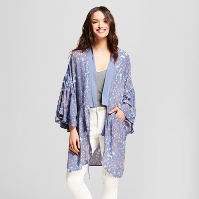 Womens Floral Print Cocoon with Flounce Sleeves Kimono Jackets - Universal  Thread™ Blue a8b206a8d16a