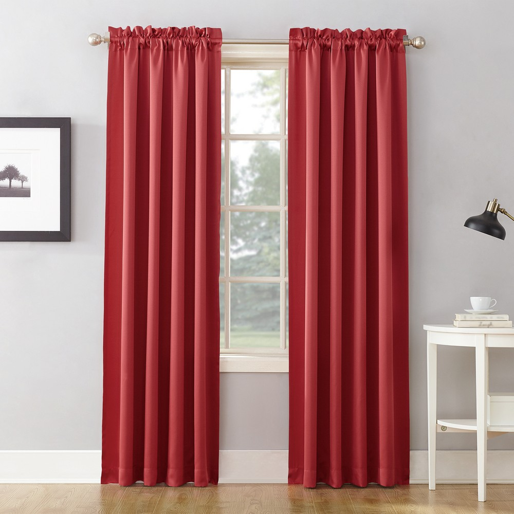 Seymour Room Darkening Rod Pocket Curtain Panel Coral (Pink) 54