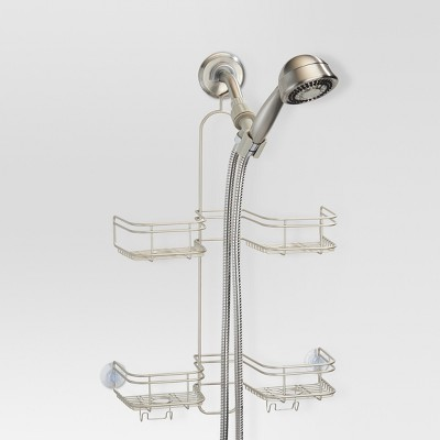 Bathroom Hose Shower Caddy Pearl Satin Silver - Threshold™