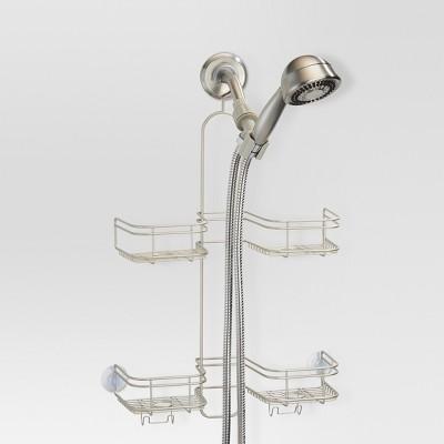 Bathroom Hose Shower Caddy Pearl Satin Silver - Threshold™