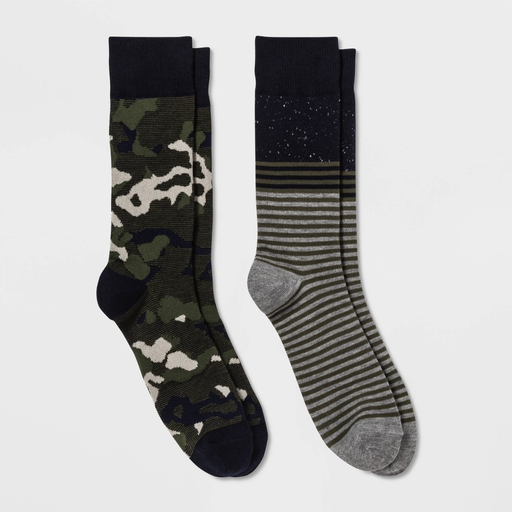 Image of Men's 2pk Crew Dress Socks - Goodfellow & Co Black 10-13, Size: Small, Blue