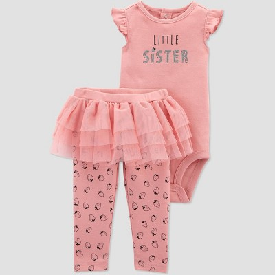 Baby Girls' 2pc Little Sister Bodysuit and Tutu Pants Set - Just One You® made by carter's Pink 3M