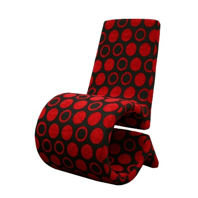 Set Of 2 Forte And Patterned Fabric Accent Chairs Red/Black   Baxton Studio