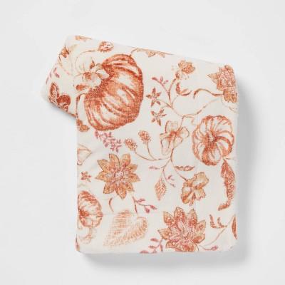Pumpkin Printed Plush Throw Blanket with Sherpa Reverse Cream - Threshold™