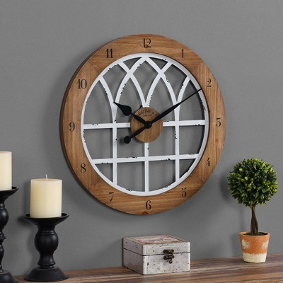 """18"""" Cathedral Arch Wall Clock Weathered Brown/White - FirsTime"""