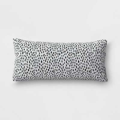 Dots Woven Outdoor Lumbar Decorative Pillow DuraSeason Fabric™ Black - Opalhouse™