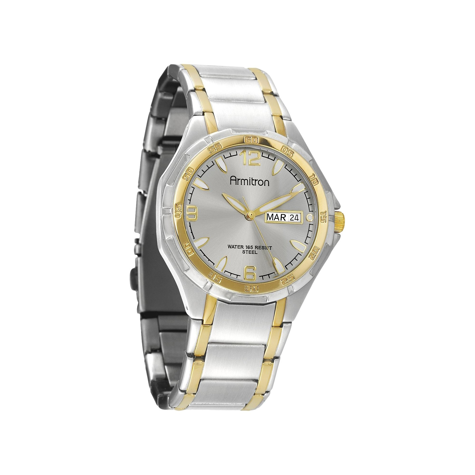 Armitron Men's Two-Tone Round Dial Dress Watch, Size: Small, Gold Silver