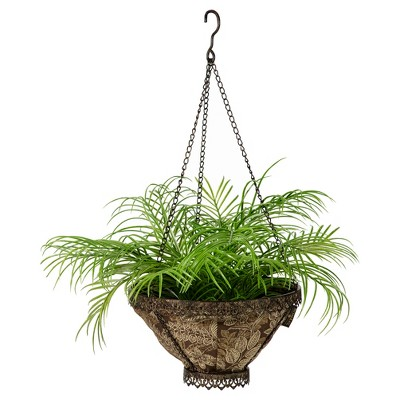 Avignon Hanging Fabric Planter With Palmetto Espresso Liner Brown - Bombay Outdoors