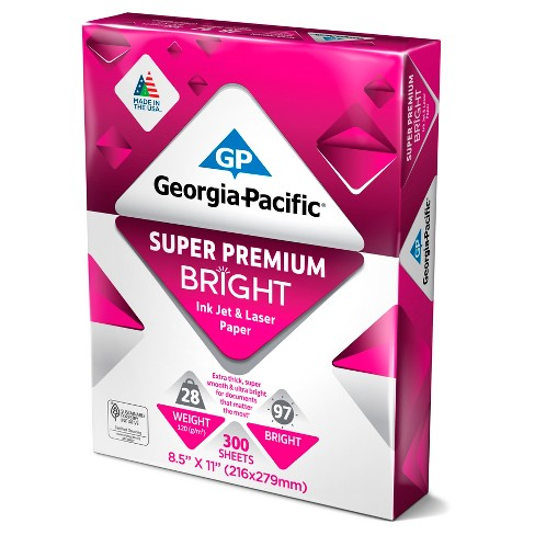 georgia pacific printer paper letter size 28lb super premium bright